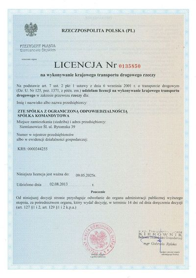 Zertifikat: National Transportation License