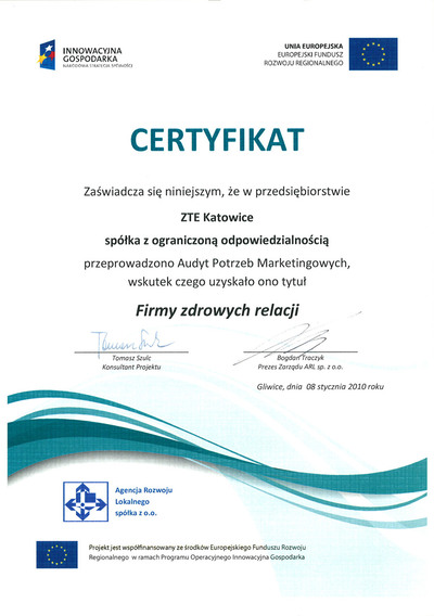 """Company With Healthy Relations"" Certificate"